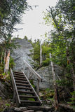 Stairway in a hiking trail. In mont sutton Royalty Free Stock Image