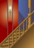 Stairway illuminated by candle Royalty Free Stock Images
