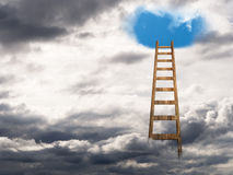Stairway ladder to heaven. Psychology concept etc. Towards blue skies, happiness. With copy space for message Stock Photography