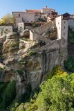 Stairway leading into a monastery build on a rock. Royalty Free Stock Photo