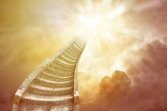 Stairway to heaven. Stairway leading up to bright sky. Stairway to heaven Stock Photo