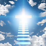 Stairway leads to cross and light. Stairway leads to cross and glowing light vector illustration