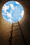 Stairway leads Tonel to the blue sky Stock Images