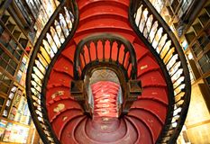 Stairway of Lello Bookstore. In Porto,Portugal royalty free stock images