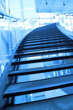 Stairway of the mall entrance. With blue toned Royalty Free Stock Photo