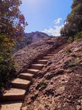 Stairway in Montserrat Mountain, Spain Stock Images