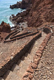 Stairway by the ocean, El Golfo, Lanzarote Royalty Free Stock Photos