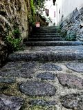 Stairway in an old city stock image