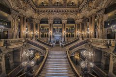 Stairway of the opera house in Paris Stock Images