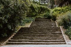 Stairway into a park in Barcelona royalty free stock photography