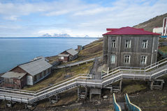 Stairway from the port in Barentsburg, Svalbard Stock Photography