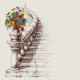 Stairway and railing sketch. House interior artistic design vector illustration
