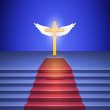 Stairway with red carpet leads to cross. Royalty Free Stock Photography