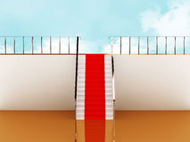 Stairway with red carpet to the sky Royalty Free Stock Photo