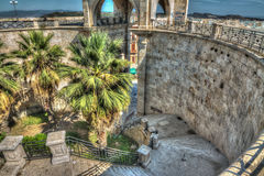 Stairway in Saint Remy bastion, Cagliari Royalty Free Stock Image