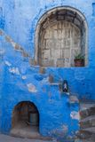 Santa Catalina monastery in Arequipa. Stairway in Santa Catalina monastery in Arequipa, Peru royalty free stock images