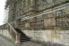Stairway. scaffolding. renovation site Stock Images