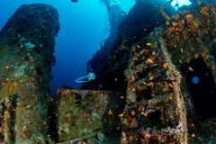 Stairway on Ship Wreck in maldives indian ocean Stock Photo