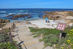 Stairway and sign for Asilomar State beach in Pacific Grove, Cal Stock Image