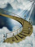 Stairway in the sky. With old lamps stock illustration