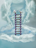 Stairway in the sky. With dove Royalty Free Stock Photography