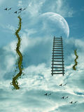 Stairway in the sky. Stairway in the cloudy sky with planet Stock Photo