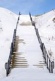 Stairway in snow Stock Images