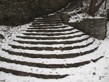 Stairway Snow. An ancient brick stairway and wall covered with snow Stock Photos