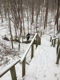 A stairway down to winter wonderland. Toronto, Ontario, Canada. stock image