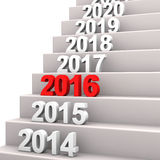 Stairway 2016. Stair with years. 3d illustration with white background Royalty Free Stock Photos