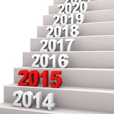 Stairway 2015. Stair with years. 3d illustration with white background Stock Photography