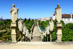 Stairway with statues of portuguese kings, Castelo Branco, Portu Royalty Free Stock Image