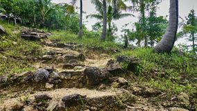 Stairway of stones on a hill Stock Photo