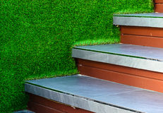 Stairway tile  and artificial grass wall Stock Images