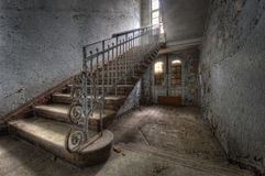 Stairway to.... The old hospital complex for lung diseases in Beelitz near Berlin which is abandoned since 1992 Royalty Free Stock Photos