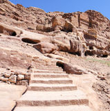 Stairway to Ancient city. Holy place in Jordan Royalty Free Stock Photo
