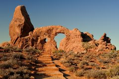 Stairway to an arch. Stairs leading to the Turret Arch during the early morning in Arches National Park near Moab, Utah Royalty Free Stock Photo
