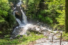 Stairway to Bash Bish Falls royalty free stock photo