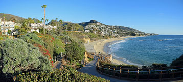 Stairway to beach below the Montage Resort ,South  Laguna Beach California. Panorama image show a stairway to the beach below the famous Montage Resort in South Royalty Free Stock Photos