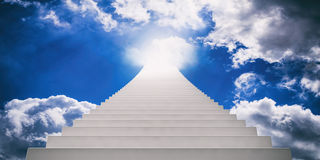 Stairway to blue sky. 3d illustration Royalty Free Stock Image