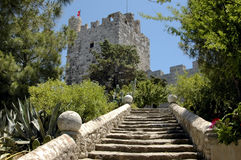 Stairway to the castle. Wide stone staircase leading up to a forbidding castle Stock Photography