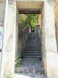 Stairway to Cetățuia street in Brasov, Romania stock photo