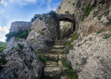 Stairway to cliff fortress Stock Images