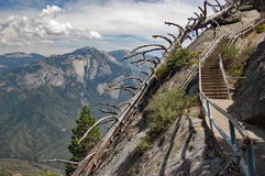 Stairway to the clouds in Sequoia National Park, California. Stairway to the clouds. Hiking to Moro rock, in Sequoia National Park, California Royalty Free Stock Images