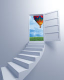 Stairway to the freedom and balloon Stock Image