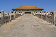 The stairway to the Hall of Supreme Harmony. The middle staircase to the Hall of Supreme Harmony in the Forbidden City, Beijing, China Stock Photos