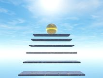 Stairway to heaven. Golden ball in stairway to heaven Royalty Free Stock Images