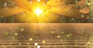 Stairway to heaven. Stairway landscape with tree and golden light Stock Photos