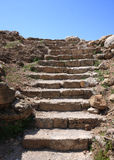 Stairway to Heaven. Rock cut stairway leading to a blue sky at the Byblos archeological site in Lebanon Stock Photos