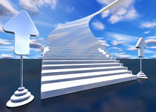 Stairway to heaven. 3d image of stairway to heaven with arrows Stock Photos